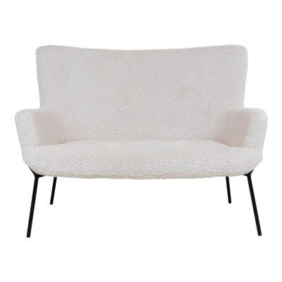 Dvivietė sofa Glasgow, dirbtinė ėriuko oda (juodos kojos)