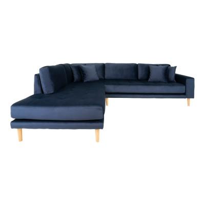 Kampinė kairinė sofa Lido su atviru galu ir keturiomis pagalvėmis, velvetas (mėlyna)