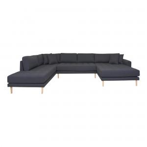 Dešininė U formos sofa Lido su atviru galu ir keturiomis pagalvėmis (tamsiai pilka)