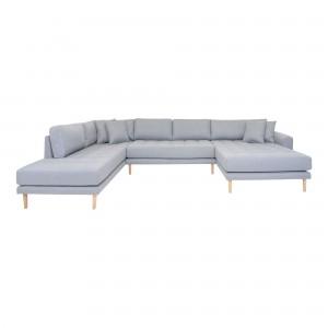 Dešininė U formos sofa Lido su atviru galu ir keturiomis pagalvėmis (šviesiai pilka)