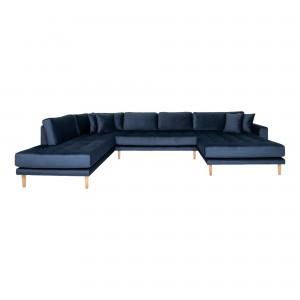 Dešininė U formos sofa Lido su atviru galu ir keturiomis pagalvėmis, velvetas (tamsiai mėlyna)