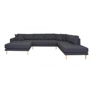 Kairinė U formos sofa Lido su atviru galu ir keturiomis pagalvėmis (tamsiai pilka)