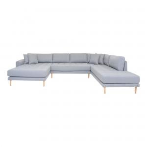 Kairinė U formos sofa Lido su atviru galu ir keturiomis pagalvėmis (šviesiai pilka)