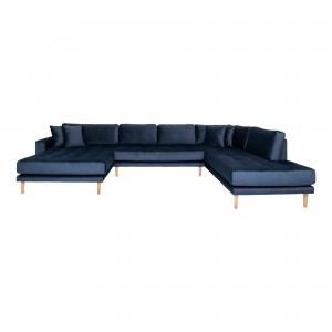 Kairinė U formos sofa Lido su atviru galu ir keturiomis pagalvėmis, velvetas (tamsiai mėlyna)