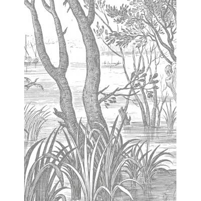 Skritulio formos tapetai XL, graviūriniai peizažai