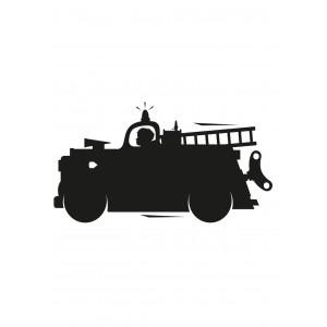 Kreida rašomas lipdukas, gaisrinės automobilis