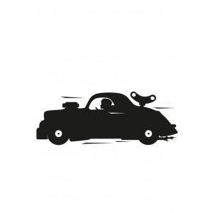 Kreida rašomas lipdukas, lenktyninis automobilis