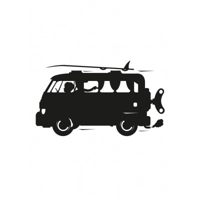Kreida rašomas lipdukas, kaituotojų mikroautobusas