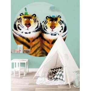 Apskritos formos tapetas vaikams, du tigrai