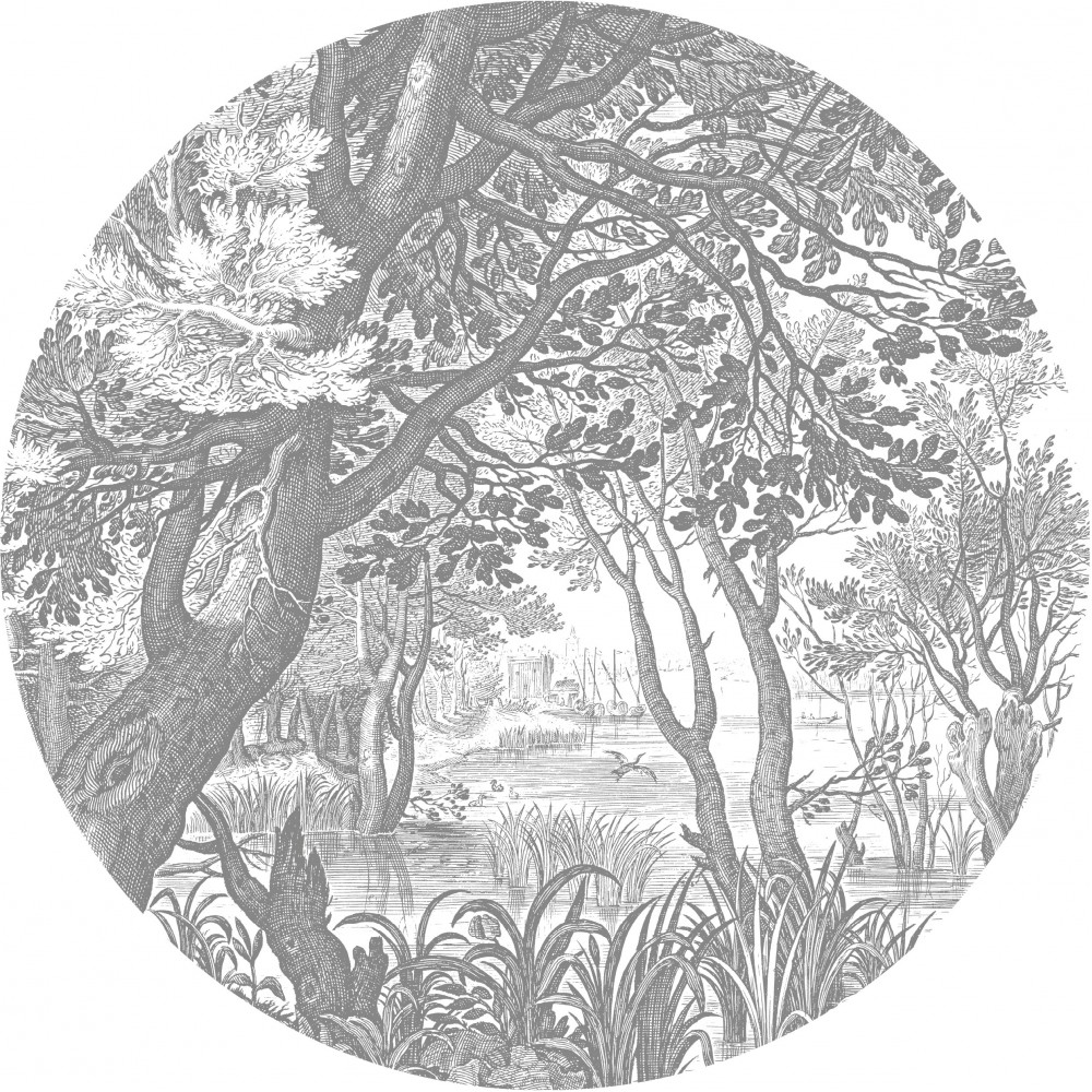 Skritulio formos tapetai, graviūriniai peizažai