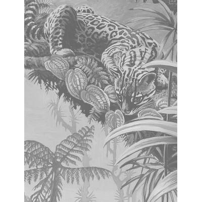 Skritulio formos tapetai, tropiniai peizažai, juodai balti