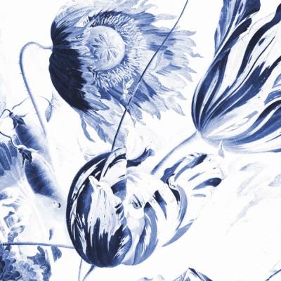 Mažo skritulio formos tapetai, mėlynos karališkos gėlės