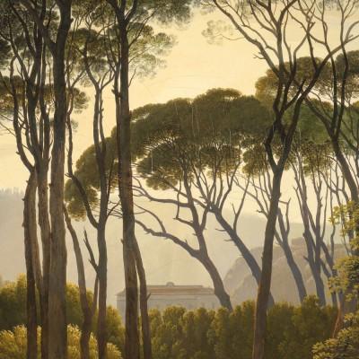 Mažo skritulio formos tapetai, aukso amžiaus peizažas
