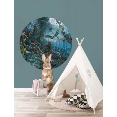 Mažas apskritos formos tapetas vaikams, tropinis peizažas, mėlyni