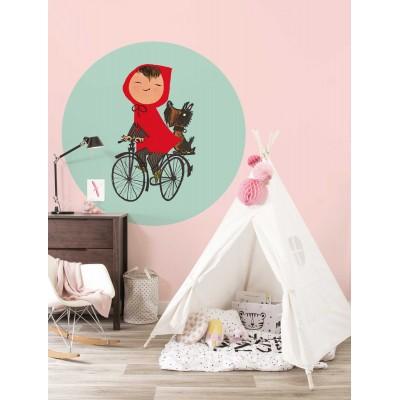 Mažas apskritos formos tapetas vaikams, važinėjimasis dviračiu