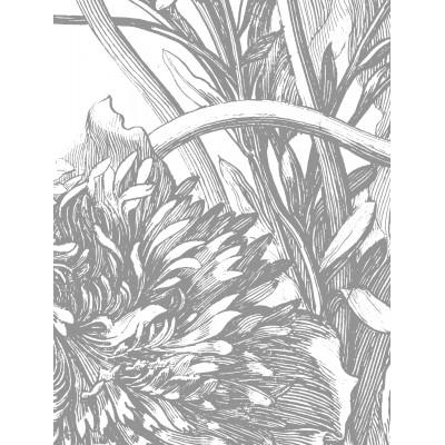 Mažo skritulio formos tapetai, graviūrinės gėlės