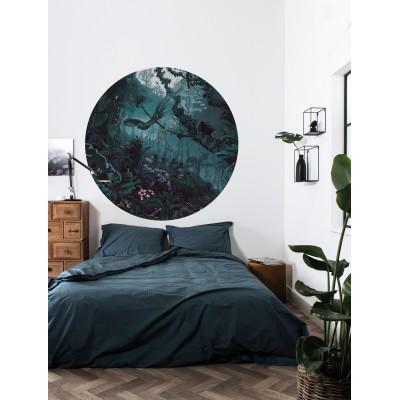 Mažo skritulio formos tapetai, tropiniai peizažai, žaliai mėlyni