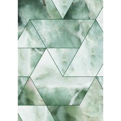 Pasikartojančio rašto tapetai, marmuro mozaika, žalia