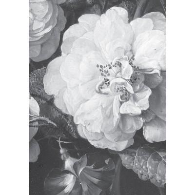 Fototapetas, aukso amžiaus gėlės, baltos ir juodos, 4 lakštai