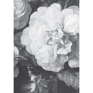 Fototapetas, aukso amžiaus gėlės, baltos ir juodos, 8 lakštai
