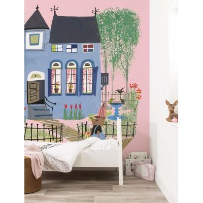 Tapetai vaikams, meška su mėlynu namu