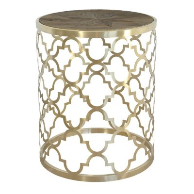 Plieninis aukso spalvos staliukas Glamour