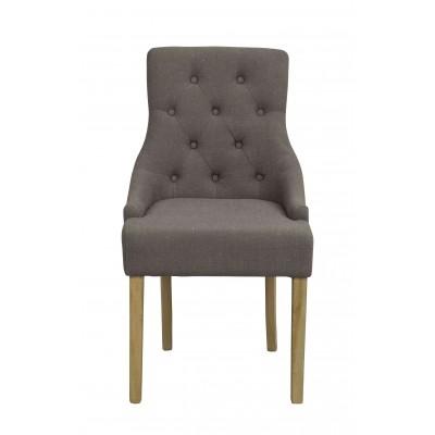 Kėdė Stella, 2 vnt. (pilkas audinys / vintažinio stiliaus pilkos kojos)