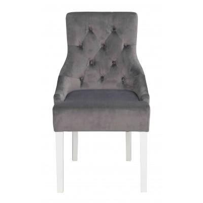 Kėdė Stella, 2 vnt. (pilkas velvetas / balta)