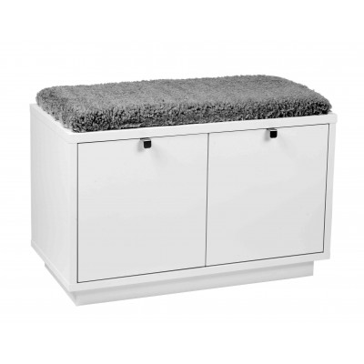 Suoliukas Confetti su 2 stalčiais (baltos spalvos / pilka avikailio imitacija)