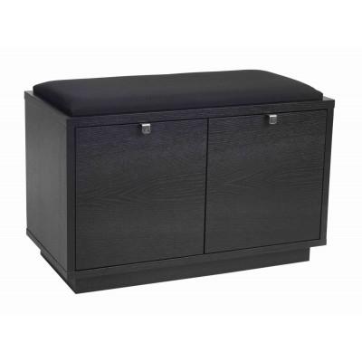 Suoliukas Confetti su 2 stalčiais (juodai beicuoto ąžuolo / juodos spalvos audinys)