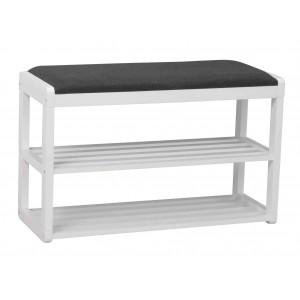 Batų stovas / suoliukas Metro, 80 cm (balta / tamsiai pilka)