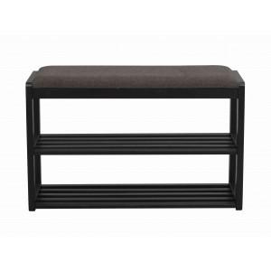 Batų stovas / suoliukas Metro, 80 cm (juodos spalvos ąžuolo / tamsiai pilka)