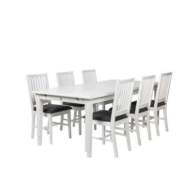 Kėdė Koster, 2 vnt. (balta / pilko audinio sėdimoji dalis)