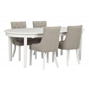 Ovalus valgomojo stalas Koster 163/208/253 cm (balta)