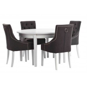Apvalus valgomojo stalas Koster 120/168 cm (balta)