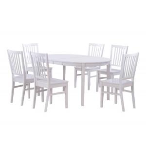 Ovalus valgomojo stalas Wittskar, 150+50 cm prailginimas, 107+50 cm prailginimas (balta)