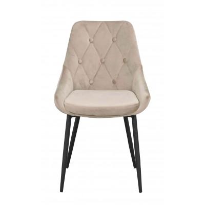 Kėdė Ontario, 2 vnt. (smėlio spalvos velvetas / juodos metalinės kojos)