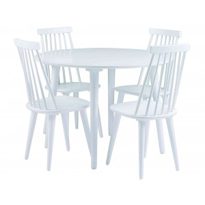 Apvalus valgomojo stalas Lotta, 106 cm (balta)