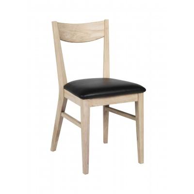 Kėdė Dylan, 2 vnt. (lakuoto balinto ąžuolo / juoda PU sėdimoji dalis)