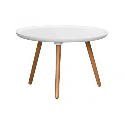 Apvalus kavos staliukas Daisy, 55 cm (balta / ąžuolo)