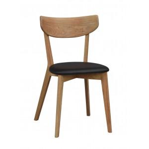 Kėdė Ami, 2 vnt. (lakuoto ąžuolo / juodas PU)