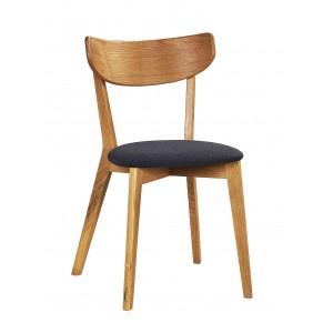 Kėdė Ami, 2 vnt. (lakuoto ąžuolo / tamsiai pilka veltinė medžiaga)