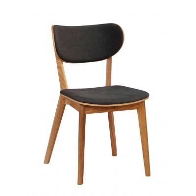 Kėdė Cato, 2 vnt. (lakuoto ąžuolo / tamsiai pilkas audinys)