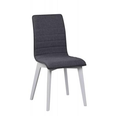 Kėdė Grace, 2 vnt. (tamsiai pilkas audinys / baltas lakas)
