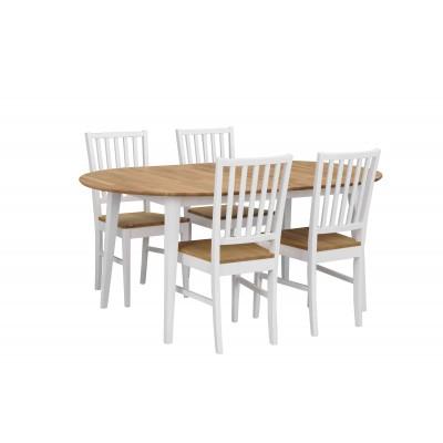 Kėdė Filippa, 2 vnt. (balta / alyvuoto ąžuolo sėdimoji dalis)