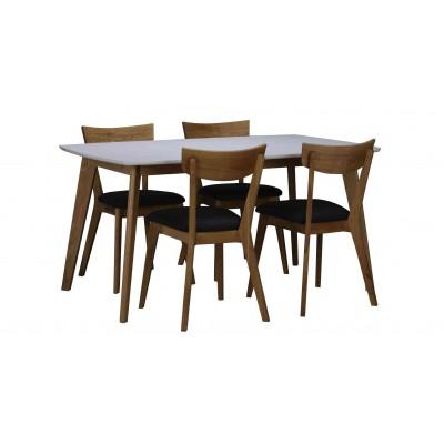 Valgomojo stalas Olivia, 150 cm (balta / ąžuolo)