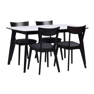Valgomojo stalas Olivia, 150 cm (balta / juoda)