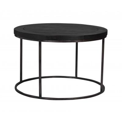 Kavos staliukas Dalton, apvalus, 80 cm, juodai pilkos metalinės kojelės (juoda)