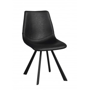 Kėdė Alpha, 2 vnt. (juodas PU / juodos metalinės kojos)