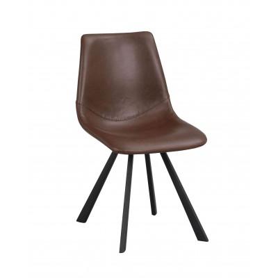 Kėdė Alpha, 2 vnt. (konjako spalvos PU / juodos metalinės kojos)